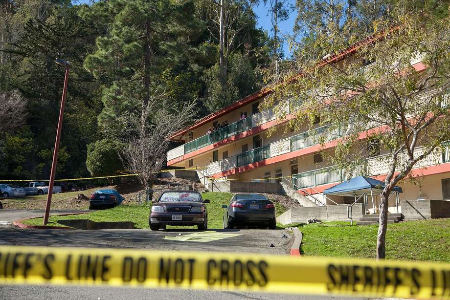 An apartment complex is taped off, Sunday, Feb. 7, 2016, in Marin City, Calif. Two people were killed and another person was injured during an altercation at an apartment complex, only blocks away from the Bayside Martin Luther King, Jr. Academy. Photo: Santiago Mejia, Special To The Chronicle