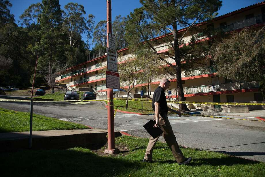 A public information officer heads to speak with members of the media, Sunday, Feb. 7, 2016, in Marin City, Calif. Two people were killed and another person was injured during an altercation at an apartment complex, only blocks away from the Bayside Martin Luther King, Jr. Academy. Photo: Santiago Mejia, Special To The Chronicle