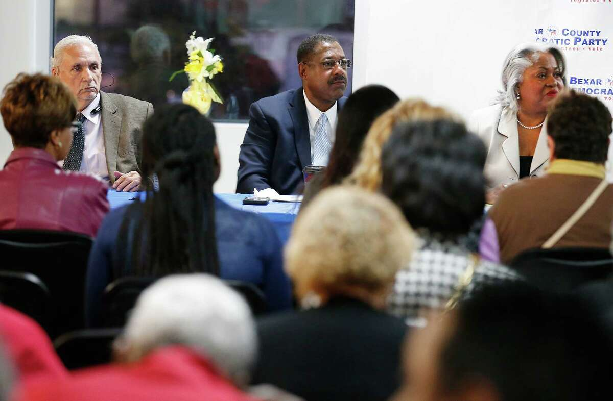 Candidates Mario Salas (from left), Byron Miller and Barbara Gervin-Hawkins join three other candidates vying for Ruth Jones McClendon's Texas House District 120 seat during a town hall meeting at Second Baptist Church on Wednesday, Feb. 3, 2016. The other candidates are: Lou Miller, Art Hall and LaTronda Darnell. Voters will decide on March 1 who will replace McClendon, who served for 19 years in the Texas House, as she announced her decision not to run for re-election after battling health issues including lung cancer. (Kin Man Hui/San Antonio Express-News)