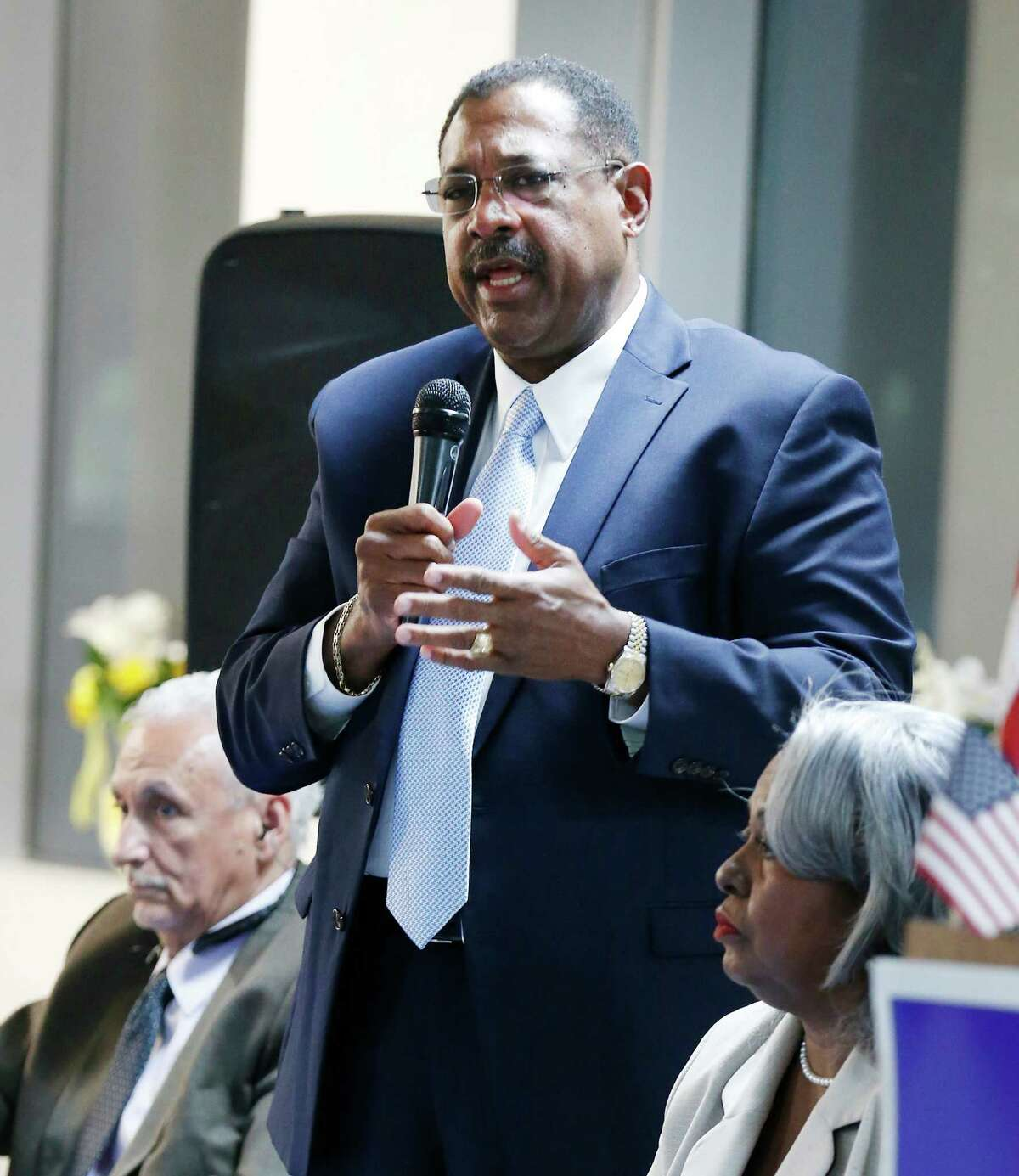 Candidate Byron Miller is vying for Ruth Jones McClendon's Texas House District 120 seat against five other candidates. The group gathered for a town hall meeting at Second Baptist Church on Wednesday, Feb. 3, 2016. The other candidates are: Mario Salas, Barbara Gervin-Hawkins, Lou Miller, Art Hall and LaTronda Darnell. Voters will decide on March 1 who will replace McClendon, who served for 19 years in the Texas House, as she announced her decision not to run for re-election after battling health issues including lung cancer. (Kin Man Hui/San Antonio Express-News)