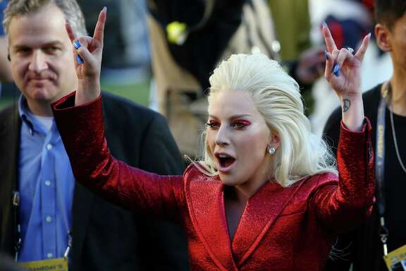 SANTA CLARA, CA - FEBRUARY 07:  Singer Lady Gaga performs during Super Bowl 50 between the Denver Broncos and the Carolina Panthers at Levi's Stadium on February 7, 2016 in Santa Clara, California.