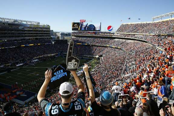 Panthers fans cheer as their team is intriduced at the start of Super Bowl 50 at Levi's Stadium, Sunday, February 7, 2016 in Santa Clara, Calif.