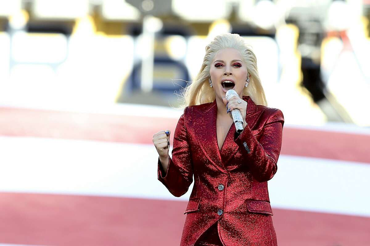 Recording artist Lady Gaga performs the national anthem prior to Super Bowl 50 between the Denver Broncos and the Carolina Panthers at Levi's Stadium on February 7, 2016 in Santa Clara, California. (Photo by Streeter Lecka/Getty Images)