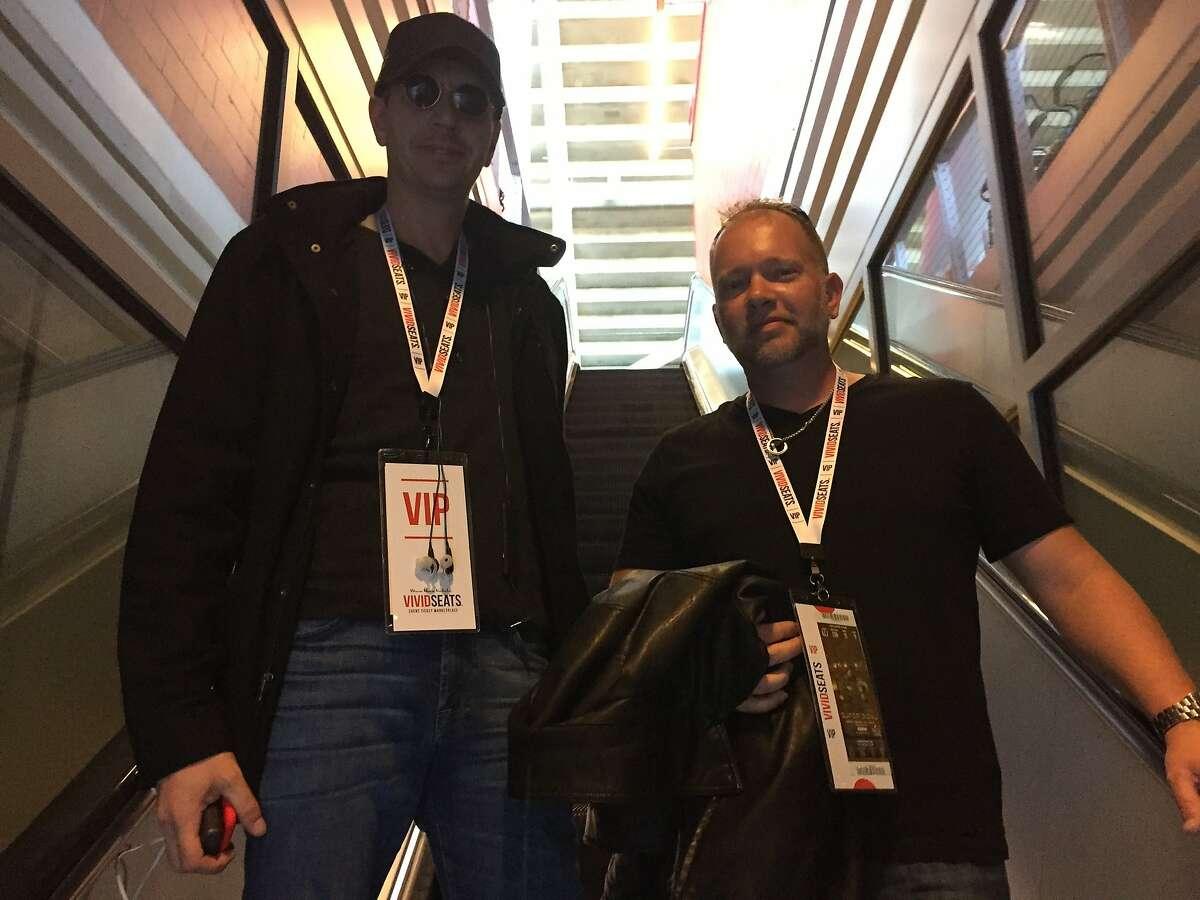 Dr. Juergen Pichler-Levine, left, and Jim Gantt, both from Houston, attend Super Bowl 50 at Levi's Stadium on Feb. 7, 2016.