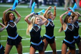 SANTA CLARA, CA - FEBRUARY 07:  Cheerleaders for the Carolina Panthers perform in the first half against the Denver Broncos during Super Bowl 50 at Levi's Stadium on February 7, 2016 in Santa Clara, California.  (Photo by Maddie Meyer/Getty Images)