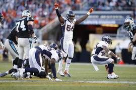 Denver Broncos' Von Miller celebrates a sack in the first quarter during Super Bowl 50 between the Carolina Panthers and the Denver Broncos at Levi's Stadium on Sunday, Feb. 7, 2016 in Santa Clara, Calif.