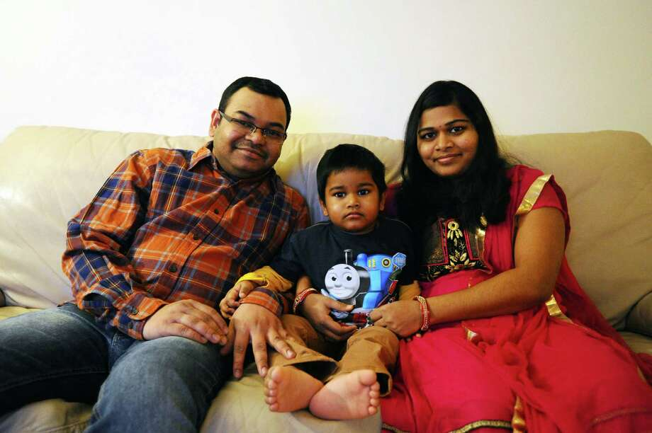 Naresh Emmadi, with his wife Mallika and three year old son Shratan, moved to Stamford from India. Naresh made the journey two and a half years ago while Mallika followed shortly after. Photo: Michael Cummo / Hearst Connecticut Media / Stamford Advocate