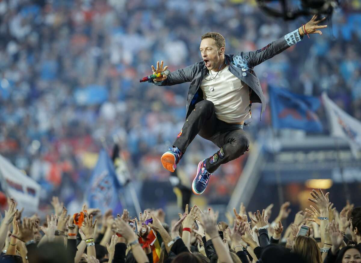 Coldplay performs during the Halftime Show at Super Bowl 50 between the Carolina Panthers and the Denver Broncos at Levi's Stadium on Sunday, Feb. 7, 2016 in Santa Clara, Calif.