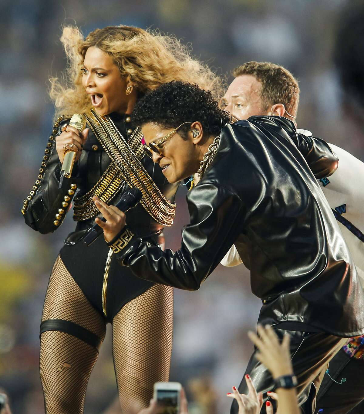 Beyonce, Chris Martin, and Bruno Mars perform during the Halftime Show at Super Bowl 50 between the Carolina Panthers and the Denver Broncos at Levi's Stadium on Sunday, Feb. 7, 2016 in Santa Clara, Calif.