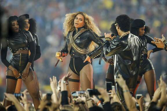 Beyonce and Bruno Mars perform during the Halftime Show at Super Bowl 50 between the Carolina Panthers and the Denver Broncos at Levi's Stadium on Sunday, Feb. 7, 2016 in Santa Clara, Calif.