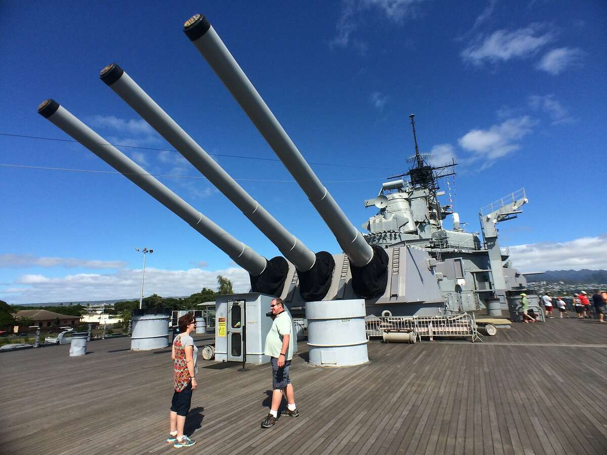 Some of the big guns on the battleship U.S.S. Missouri, permanently moored in Pearl Harbor.