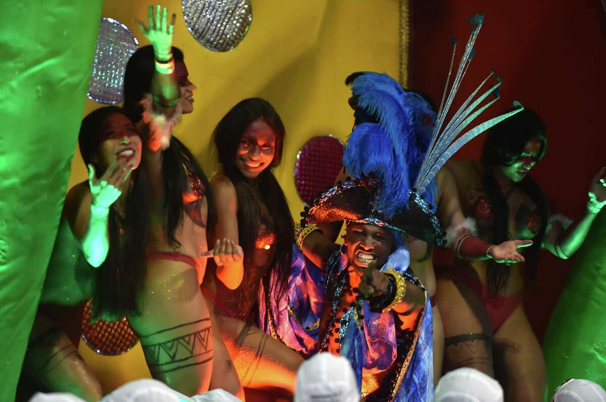 Revelers of the Vai-Vai samba school perform honoring France with their performance