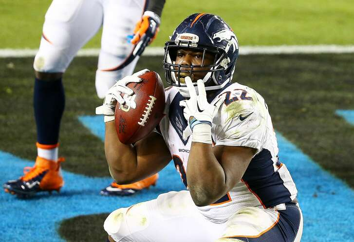 SANTA CLARA, CA - FEBRUARY 07:  C.J. Anderson #22 of the Denver Broncos celebrates after scoring a 2-yard touchdown in the fourth quarter against the Carolina Panthers during Super Bowl 50 at Levi's Stadium on February 7, 2016 in Santa Clara, California.  (Photo by Maddie Meyer/Getty Images)