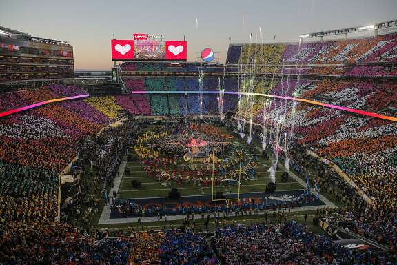 The Halftime Show is seen during Super Bowl 50 between the Carolina Panthers and the Denver Broncos at Levi's Stadium on Sunday, Feb. 7, 2016 in Santa Clara, Calif.