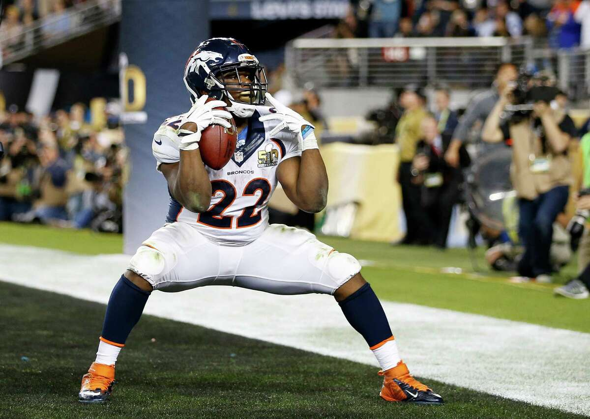 SANTA CLARA, CA - FEBRUARY 07: C.J. Anderson #22 of the Denver Broncos celebrates after scoring a 2-yard touchdown in the fourth quarter against the Carolina Panthers during Super Bowl 50 at Levi's Stadium on February 7, 2016 in Santa Clara, California.