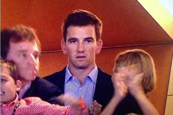 CBS' cameras caught an interesting reaction by Eli Manning to his brother Peyton's Super Bowl victory Sunday night.