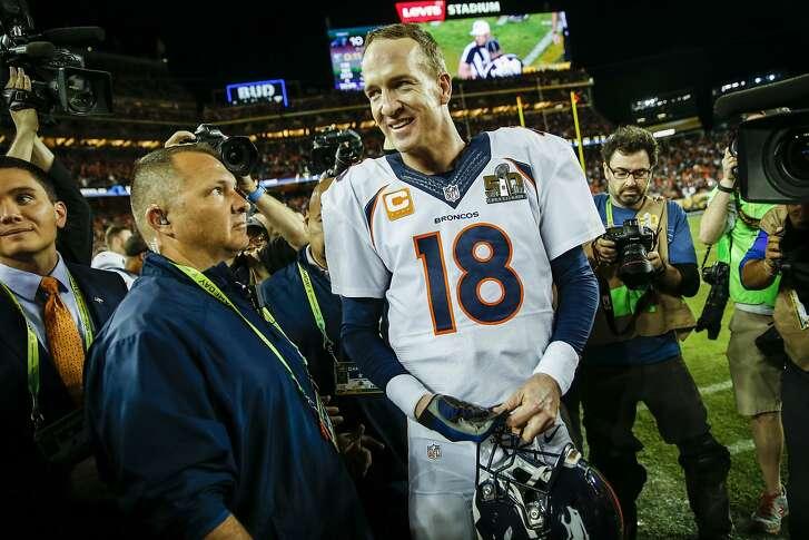 Denver Broncos' Peyton Manning smiles after winning Super Bowl 50 between the Carolina Panthers and the Denver Broncos at Levi's Stadium on Sunday, Feb. 7, 2016 in Santa Clara, Calif.