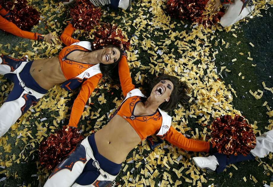 Denver Broncos' cheerleaders play with confetti after Broncos' 24-10 win over Carolina Panthers during Super Bowl 50 at Levi's Stadium in Santa Clara, Calif., on Sunday, February 7, 2016. Photo: Scott Strazzante, The Chronicle