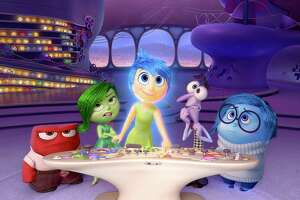 """In this image released by Disney-Pixar, characters, from left, Anger, voiced by Lewis Black, Disgust, voiced by Mindy Kaling, Joy, voiced by Amy Poehler, Fear, voiced by Bill Hader, and Sadness, voiced by Phyllis Smith appear in a scene from """"Inside Out."""" The 43rd annual Annie Awards were a joyous affair for """"Inside Out."""" The Pixar release won the Annies' top honor and 10 awards altogether at the ceremony on Saturday, Feb. 6, 2016, at UCLA's Royce Hall in Los Angeles.  (Disney-Pixar via AP) ORG XMIT: CAET737"""