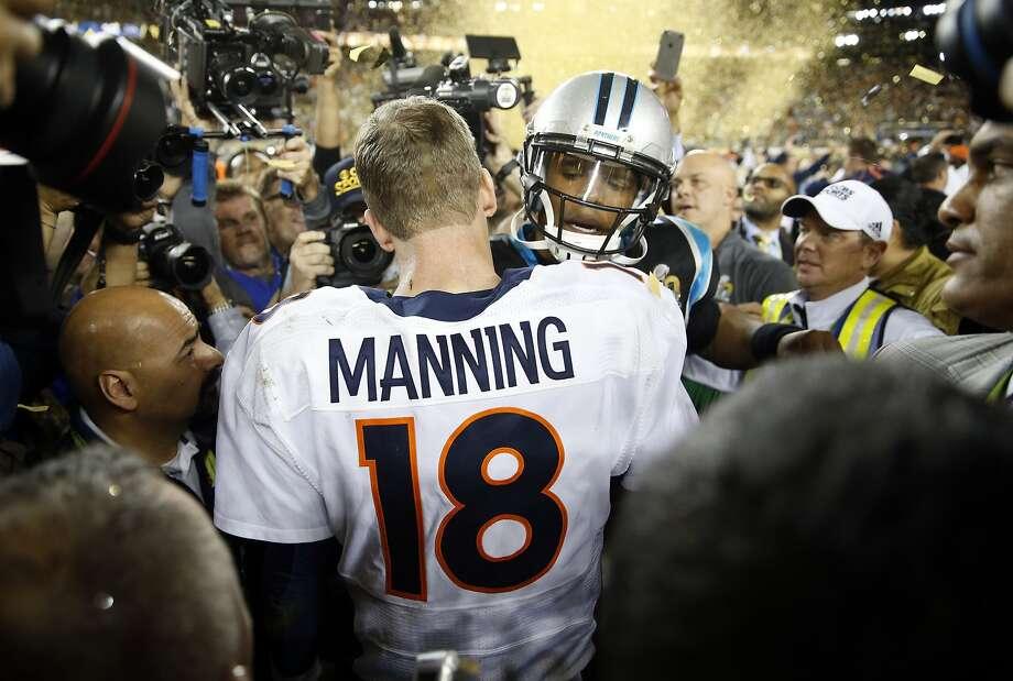 Carolina Panthers' Cam newton congratulates Denver Broncos' Peyton Manning after Broncos' 24-10 win in Super Bowl 50 at Levi's Stadium in Santa Clara, Calif., on Sunday, February 7, 2016. Photo: Scott Strazzante, The Chronicle