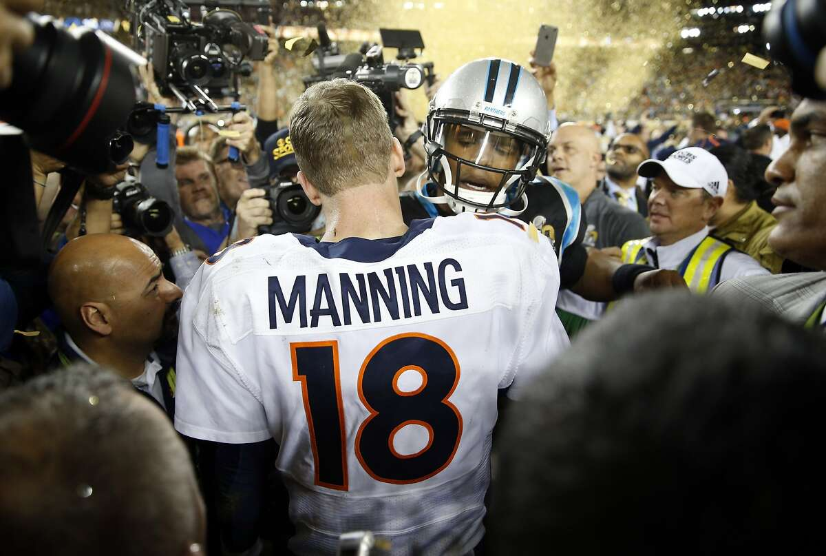 Carolina Panthers' Cam newton congratulates Denver Broncos' Peyton Manning after Broncos' 24-10 win in Super Bowl 50 at Levi's Stadium in Santa Clara, Calif., on Sunday, February 7, 2016.