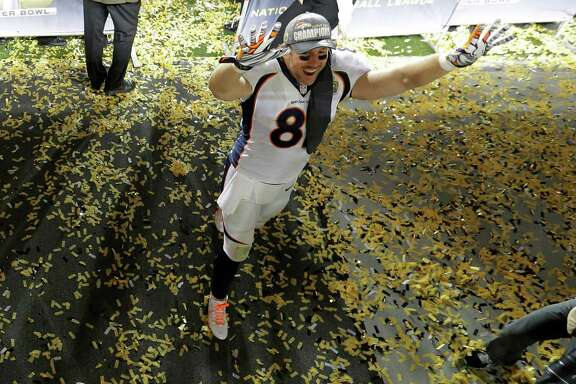Denver Broncos' Owen Daniels (81) celebrates after the NFL Super Bowl 50 football game against the Carolina Panthers Sunday, Feb. 7, 2016, in Santa Clara, Calif. The Broncos won 24-10. (AP Photo/Jeff Chiu)