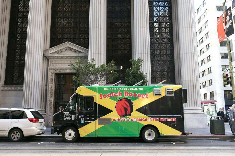 Scotch Bonnet food truck on California Street near Sansome Street in S.F.'s Financial District. Photo: Jen Fedrizzi, Special To The Chronicle
