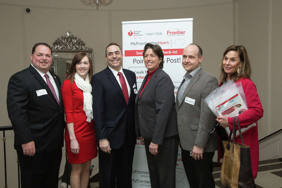 L-R: Joe Ferraiolo, Frontier's Area General Manager for New Haven; Amy Rimmer, Frontier's Marketing Specialist; Robert Maximillian, Frontier's Senior Regional Marketing Manager; Cyn Stehouwer, Frontier's VP of Operations (CT,NY &PA); Zach Tomblin, Frontier's Area General Manager for Eastern CT and Liz Grey Godbout, Frontier's Communications Manager. Photo: Contributed / Contributed / Connecticut Post