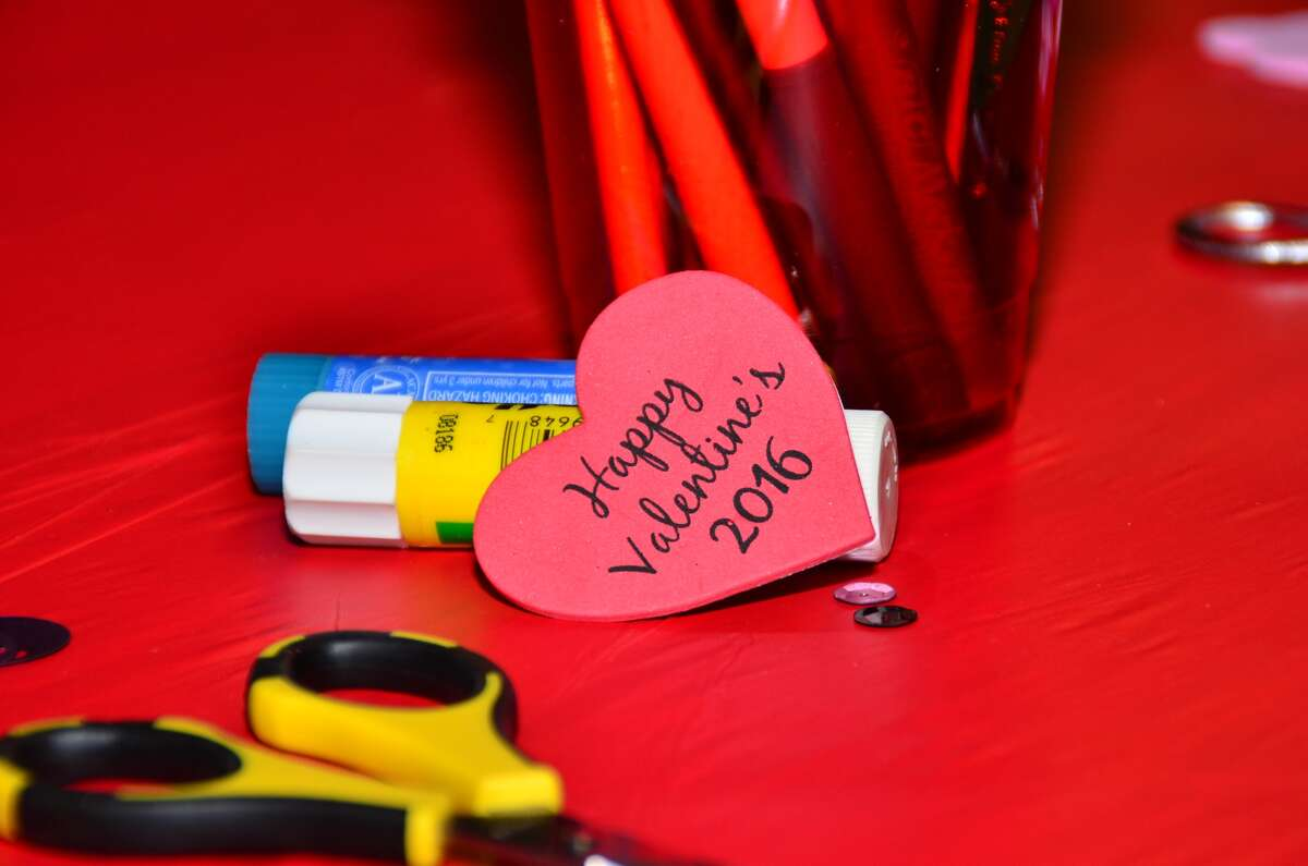 Those attending the annual Valentines for Veterans event made sweet cards for veterans. Photographer: Candace Garcia