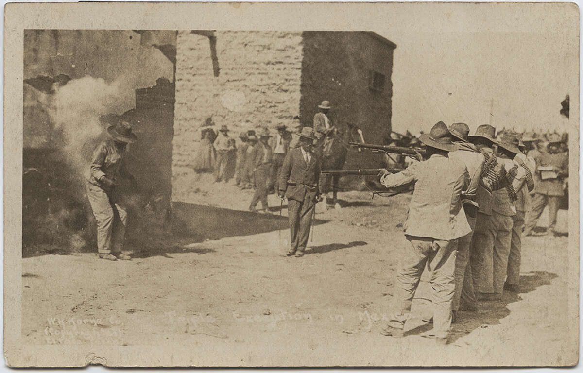 This image is one of a group of photographs by Horne known as the 'triple execution' series. It depicts the execution of three condemned prisoners for allegedly stealing military supplies. The victims, Francisco Rojas, Juan Aguilar and Jose Moreno were executed on January 15th, 1916, at the Northwest Railroad Station, in Ciudad Juarez, Mexico. (Vanderwood and Samponaro 1988, 68)
