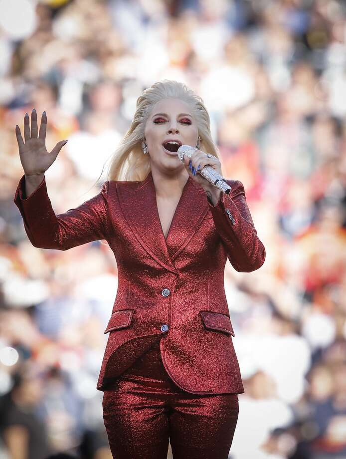 Lady Gaga sings the National Anthem during pre-game ceremonies at Super Bowl 50 between the Carolina Panthers and the Denver Broncos at Levi's Stadium on Sunday, Feb. 7, 2016 in Santa Clara, Calif. Photo: Michael Macor, The Chronicle