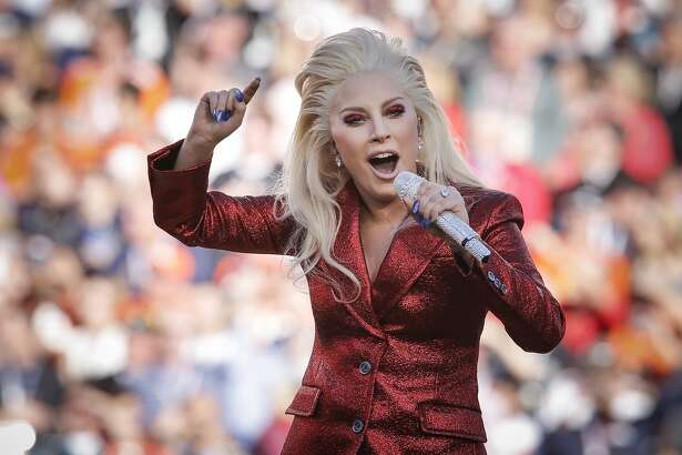 Lady Gaga sings the National Anthem during pre-game ceremonies at Super Bowl 50 between the Carolina Panthers and the Denver Broncos at Levi's Stadium on Sunday, Feb. 7, 2016 in Santa Clara, Calif.