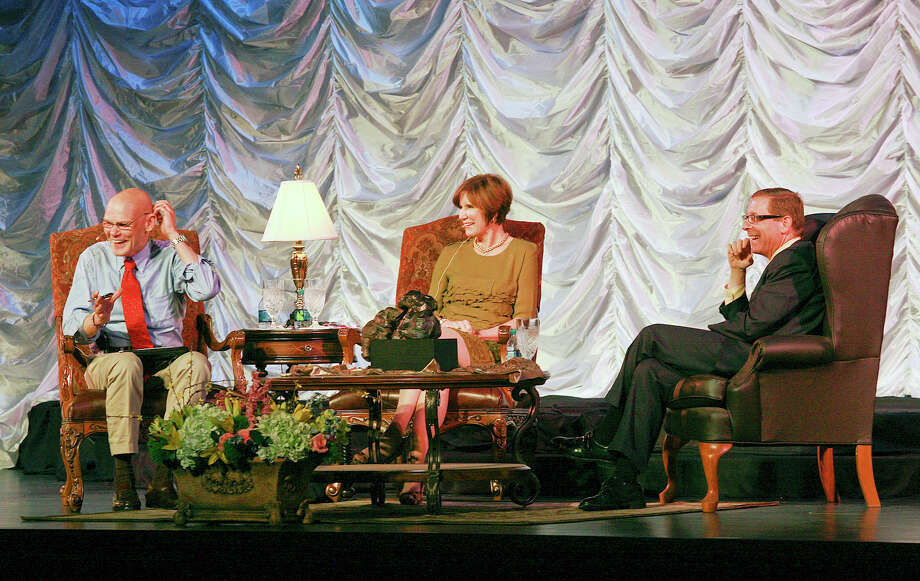 """James Carville, from left, and his wife Mary Matalin prepare to speak on """"All's Fair: Love, War and Politics"""" with moderator Evan Smith in 2012 during the JBS Institute Lecture Series at the Wagner Noel Performing Arts Center in Midland. Cindeka Nealy/Reporter-Telegram Photo: Cindeka Nealy, Staff Photographer / Cindeka Nealy/Reporter-Telegram"""