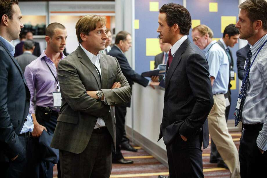 "Steve Carell, left, plays Mark Baum and Ryan Gosling plays Jared Vennett in ""The Big Short."" Photo: Contributed Photo / Connecticut Post Contributed"