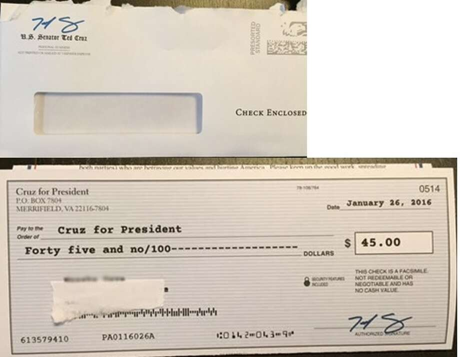 This mailer sent by U.S. Sen. Ted Cruz's presidential campaign has drawn a formal complaint from a liberal political group. (Image provided by Progress Texas)