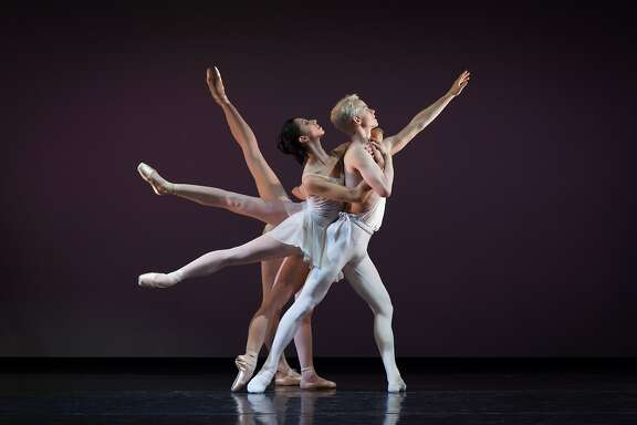 """Diablo 04: Christian Squires in the title role, with Amanda Farris, Rosselyn Ramirez and Tetyana Martyanova as the Muses, in a photo of George Balanchine's """"Apollo."""" Diablo Ballet performed the iconic 1928 work at Del Valle Theatre in Walnut Creek on Friday, February 5. Photo:  Bérenger Zyla."""