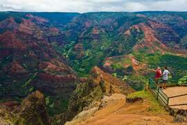 Couple at Waimea Canyon overlook.