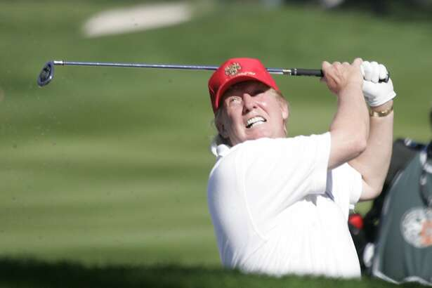 AT&T_167_MJM.jpg Donald Trump hits a bunker shot on the 9th hole of Spyglass Hill. Opening day of the AT&T Pebble Beach National Pro-Am Golf Tournament. Photo by Michael Maloney / San Francisco Chronicle