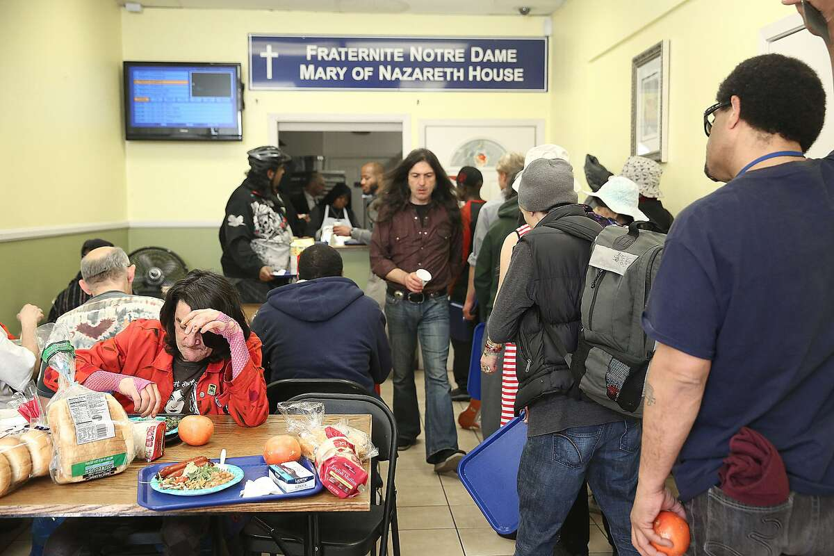 Lunch being served at the Fraternite Notre Dame Mary of Nazareth Soup kitchen in San Francisco, California, on Monday, February 8, 2016. Their rent nearly doubled and the sisters running the kitchen are being evicted.