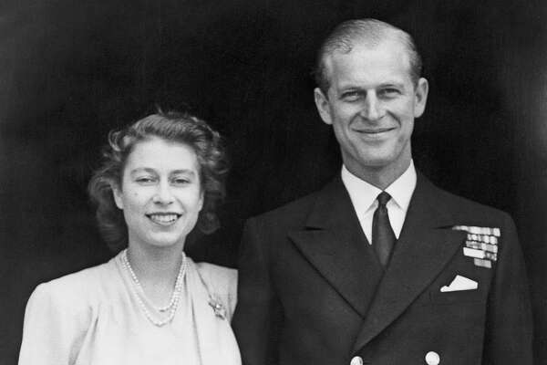 Princess Elizabeth and Prince Philip, Duke of Edinburgh at Buckingham Palace, London shortly after they announced their engagement, 1947.