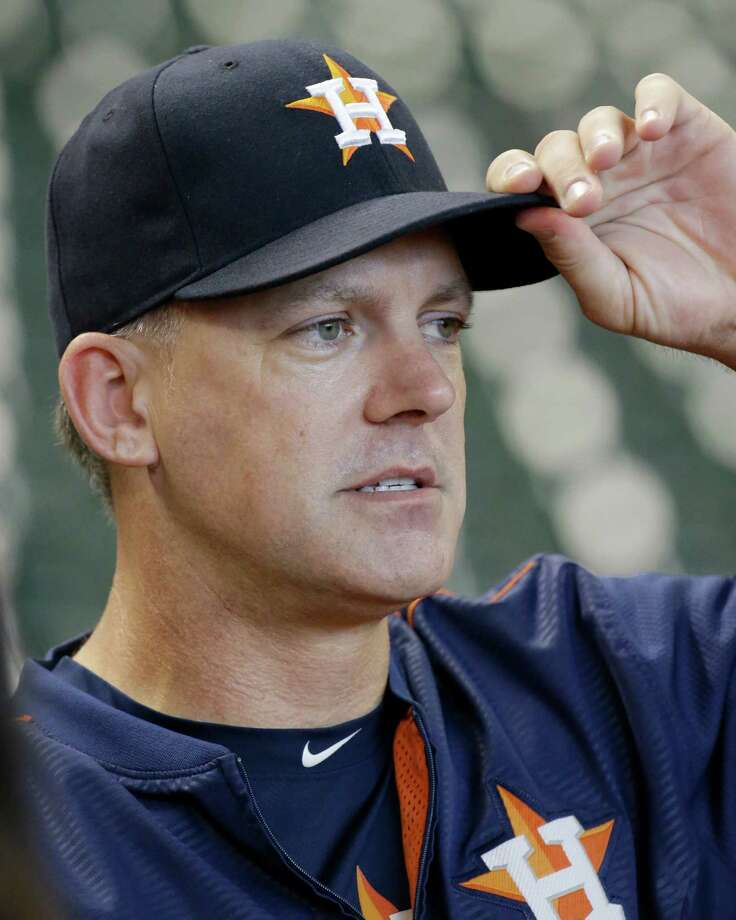 Houston Astros manager A. J. Hinch talks during batting practice at Minute Maid Park Saturday, Oct. 10, 2015, in Houston. The Astros will play Game 3 of the ALDS against the Kansas City Royals on Sunday. ( Melissa Phillip  / Houston Chronicle ) Photo: Melissa Phillip, Staff / © 2015 Houston Chronicle