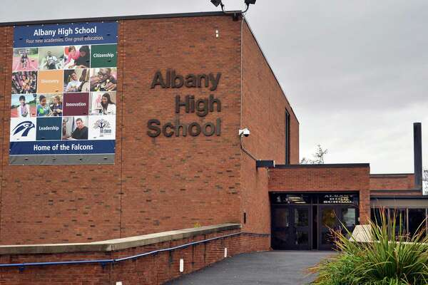 Exterior of Albany High School Wednesday, Oct. 28, 2015, in Albany, N.Y.  (John Carl D'Annibale / Times Union)