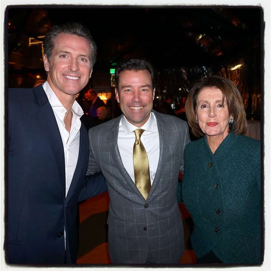 """Lt. Governor Gavin Newsom (left) with SB50 CEO Keith Bruce and Rep. Nancy Pelosi at Waterbar to celebrate """"The Bay Lights"""" kickoff to the city's Super Bowl celebrations. Photo: Catherine Bigelow, Special To The Chronicle"""