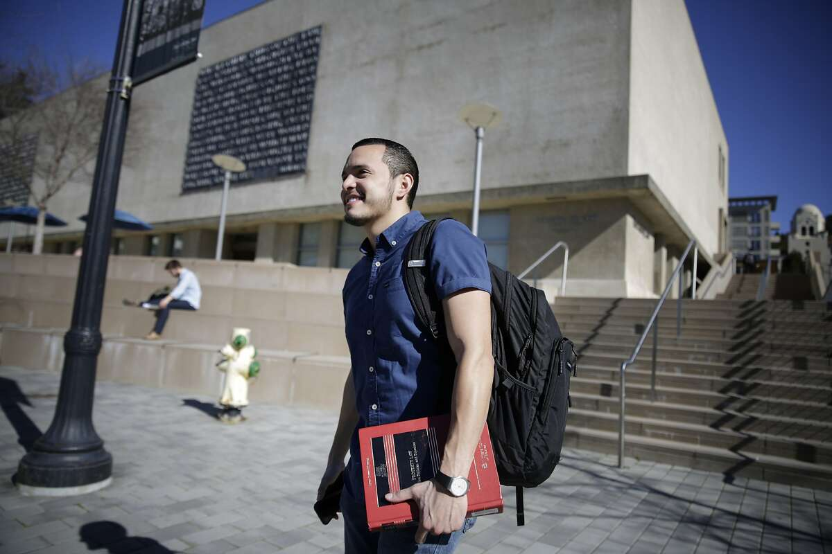 Paul Monge, first year UC Berkeley law student, walks across the UC Berkeley campus on Monday, February 8, 2016 in San Francisco, Calif.