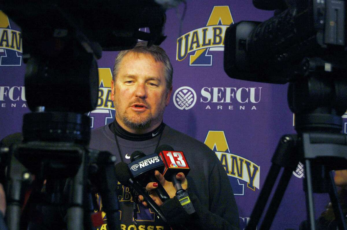 University at Albany men?'s lacrosse coach Scott Marr is interviewed during a team media day event on Monday, Feb. 8, 2016, at SEFCU Arena in Albany, N.Y. (Brittany Gregory/Special to the Times Union)