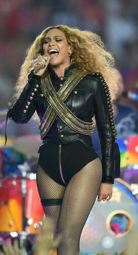 Beyonce performs during Super Bowl 50 between the Carolina Panthers and the Denver Broncos at Levi's Stadium in Santa Clara, California, on February 7, 2016. / AFP / TIMOTHY A. CLARYTIMOTHY A. CLARY/AFP/Getty Images