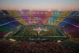 SANTA CLARA, CA - FEBRUARY 07:  Coldplay, Beyonce and Bruno Mars perform during the Pepsi Super Bowl 50 Halftime Show at Levi's Stadium on February 7, 2016 in Santa Clara, California.  (Photo by Ezra Shaw/Getty Images)