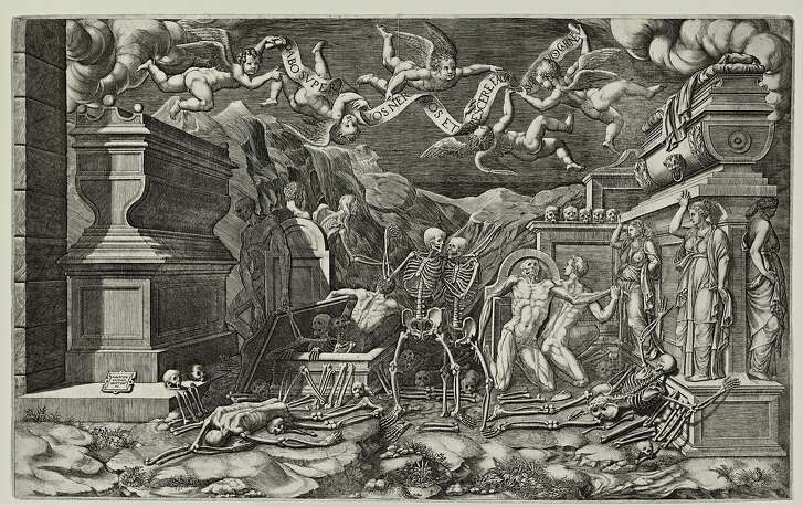 """Giogrio Ghisi (Italy, 1520 - 1582), After Giovanni Battista Bertani (Italy. 1516 - 1576). """"The Vision of Ezekiel"""" (1554). Engraving. Lent by Kirk Edward Long. Part of the Myth, Allegory, and Faith: The Kirk Edward Long Collection of Mannerist Prints exhibition at Stanford's Cantor Art Center"""