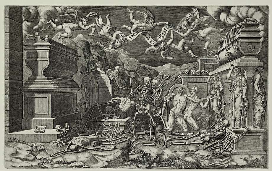 """The Vision of Ezekiel"" (1554), engraving by Giogrio Ghisi, from ""Myth, Allegory, and Faith: The Kirk Edward Long Collection of Mannerist Prints."" Photo: Cantor Arts Center"