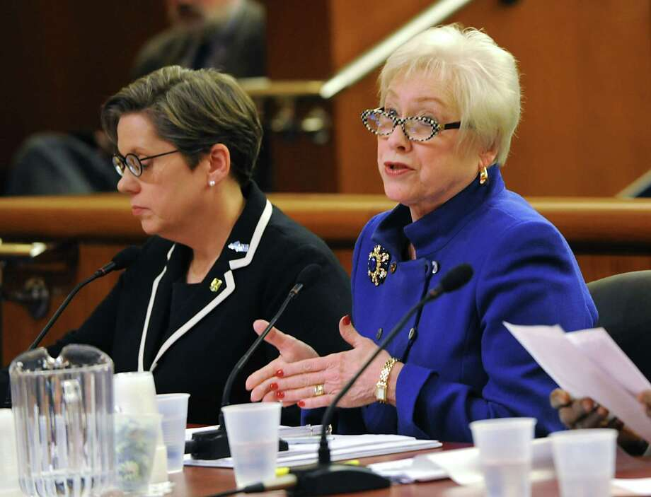 SUNY Chancellor Nancy Zimpher, right, speaks before members of the Assembly and state Senate as they hold a joint legislative budget hearing on higher education at the Legislative Office Building on Monday, Feb. 8, 2016 in Albany, N.Y. (Lori Van Buren / Times Union) Photo: Lori Van Buren / 10035324A